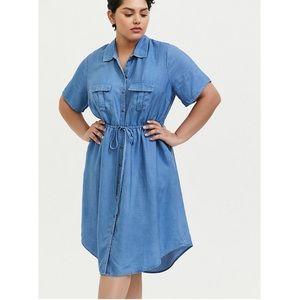 Torrid chambray drawstring shirt dress